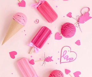 pink, wallpaper, and ice cream image