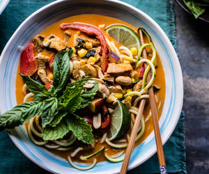 basil, curry, and noodles image