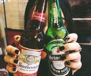 drink, beer, and girl image