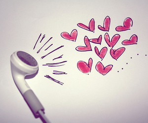 music, hearts, and earbud image