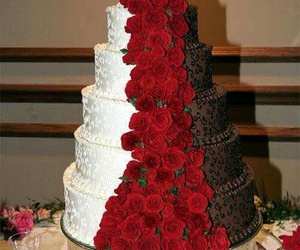 wedding, cake, and rose image