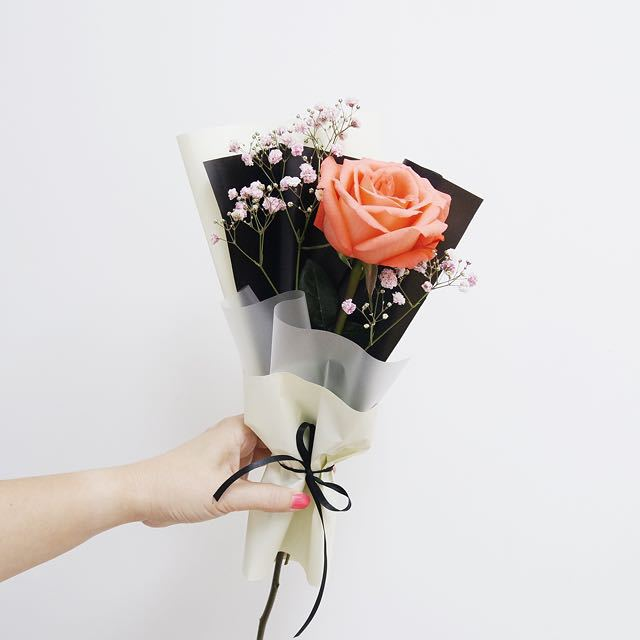 Korean Style Single Rose Flower Bouquet with Pink BabyBreath (For ...