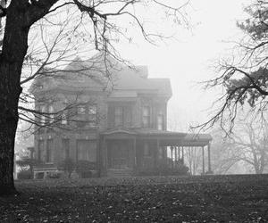 house, black and white, and fog image