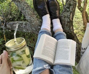 book, nature, and green image