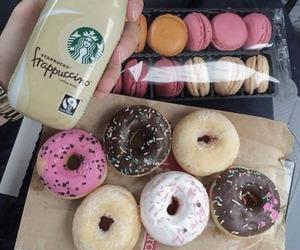 coffee, donuts, and macarons image