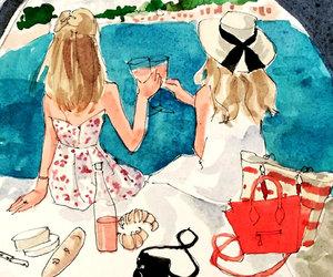 art print toost girls sea image