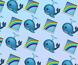 rainbow, wallpaper, and whale image