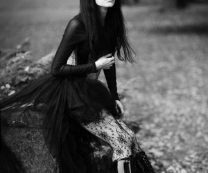 black and white, goth, and black image