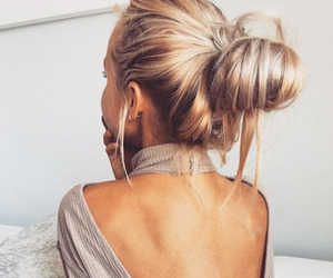 blonde, hair, and haircut image