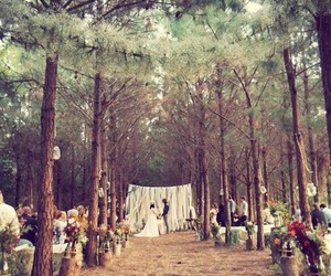 forest, wedding, and bride image