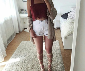 cardigan, summer, and crop top image