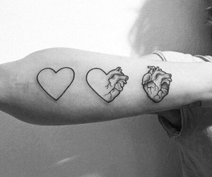 tattoo, heart, and black and white image