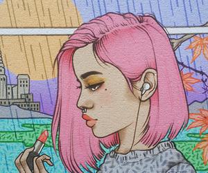 art, girl, and makeup image