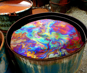 colors, oil, and rainbow image