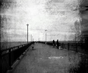 black and white, fisherman, and pier image