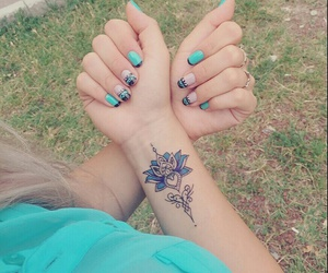 blue, french, and hand tattoo image