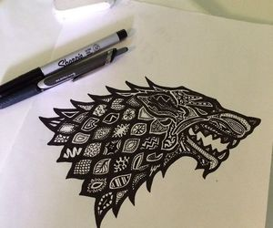 art, wolf, and game of thrones image