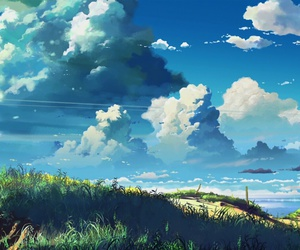 anime, clouds, and scenery image