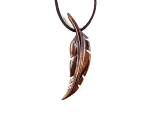 etsy, wood fearther carved, and men feather necklace image