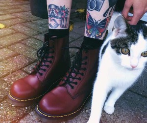 cat, tattoo, and boots image