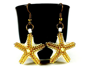 etsy, gold stars, and white earrings image