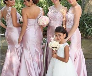 bridal gown, one shoulder, and bridesmaids dresses image