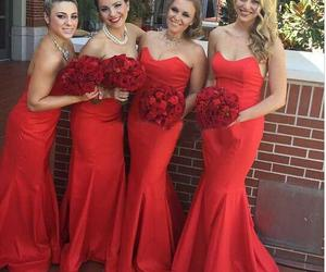 bridal gown, red dresses, and mermaid image