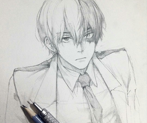 anime, pencil sketch, and anime boy image
