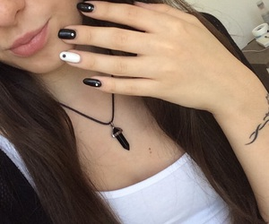black, hair, and necklace image