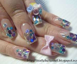 bow, girly, and nails image