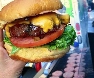 cheeseburger, food, and meat image