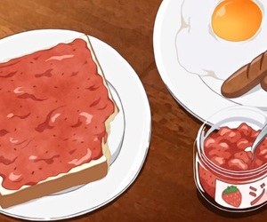 anime, food porn, and bacon and eggs image