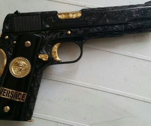 gun, Versace, and black image