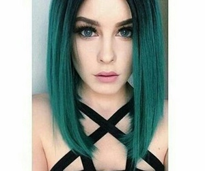 green, hair, and pretty image