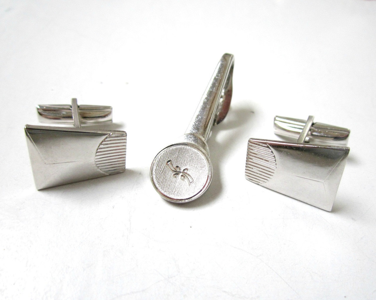 etsy, silver cuff links, and tie clip set image