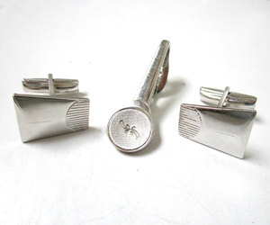 etsy, dad gift, and silver cuff links image