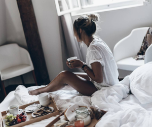 girl, breakfast, and bed image