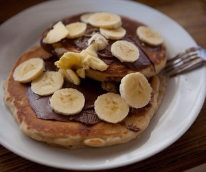 chocolate, pancakes, and banana image