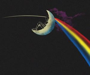 Pink Floyd, moon, and rainbow image