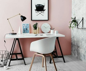 baby pink, desk, and pink wall image