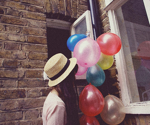 girl, balloons, and hat image