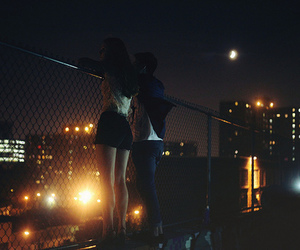 love, night, and couple image