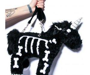 bag, black, and unicorn image