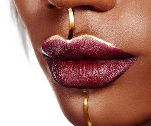 gold, lips, and make up image