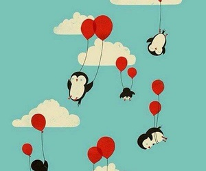 penguin, wallpaper, and balloons image