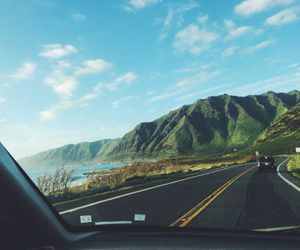 mountains, car, and travel image