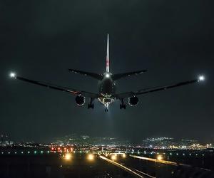 airplane, night, and light image