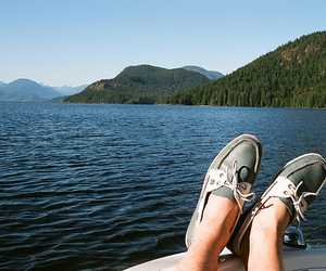 photography, shoes, and lake image