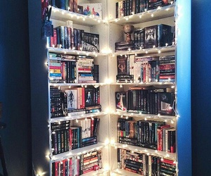 book, light, and bookshelf image