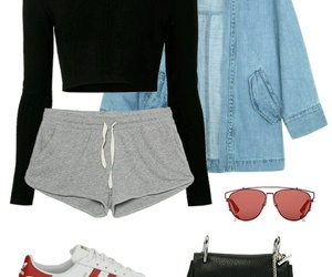 whiteshoes, denimjacket, and blacktop image